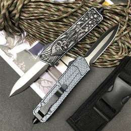 tactical edc bags Australia - Skull Carbon Fiber Color Handle Auto Tactical Knife 440C Double Edge Spear Point Blade EDC Pocket Knives With Nylon Bag