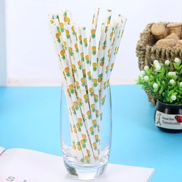 decorative drinking straws NZ - 25pcs lot Fruit Pineapple Strawberry Watermelon Lemon Paper Straws for Birthday Wedding Decorative Party Supplies Disposable Drinking Straws
