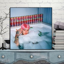 Painting For Tattoo Australia - Dm Your Lil Peep Tattoo Lil Peep Bathing Canvas Painting Wall Picture Poster And Print Decorative For Living Room Home Decor