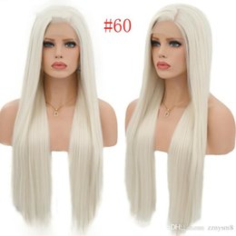 $enCountryForm.capitalKeyWord Australia - Charisma 150% Density Silky Straight Synthetic Lace Front Wigs #60 Blond Heat Resistant Wigs With Natural Part Wig for Women