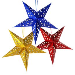 Hanging decorations for birtHday party online shopping - Paper Star Lantern Lampshade Hanging Christmas Xmas Day Decoration for LED Light Wedding Birthday Party Home Decor Hollow Out Design