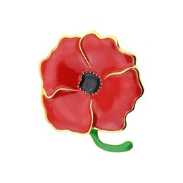 $enCountryForm.capitalKeyWord UK - Elegant Fashion Women Brooch Large Poppy Flower Shape Enamel Pin Alloy Bages Mother's Day Jewelry Gift Accessories