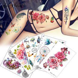 c4e5f6428 Flower Bird Decal 1pc Fake Women Men DIY Henna Body Art Tattoo Design  Butterfly Tree Branch Vivid Temporary Tattoo Sticker