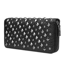 Designer Hand Clutches UK - Designer- Women Fashion Handbag Rivet Day Evening Clutches Bag Long Wallet Phone Hand Bags Purses Handbags Ladies Girls Bag Pouch Packet