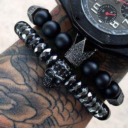 Mcllroy bracelet men skull steel stone beads luxury bracelets for mens crown cz zircon man bracelet homme jewelry Valentine gift