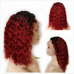 Discount curly remy hair red Wine Red Colored Bob Lace Front Wig 1B 99J Pixie Cut Ombre Human Hair Indian Remy Deep Wave Glueless Wigs For Black Women Burgundy Short Wig