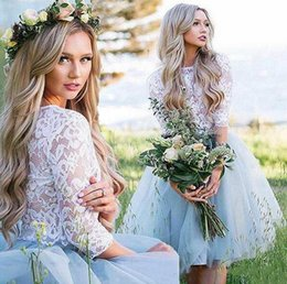 $enCountryForm.capitalKeyWord Australia - 2019 Two Pieces Homecoming Dresses A Line Jewel Half Sleeve Lace Tulle Knee Length Prom Dresses For Graduation Party