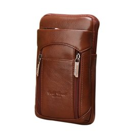 $enCountryForm.capitalKeyWord NZ - Men Genuine Leather Fanny Waist Bag Cell Mobile Phone Coin Belt Bum Pouch with Shoulder Strap Free Shipping
