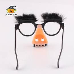 Big Makeup Gift Sets UK - Funny whole set fool props gifts for kid April Fool's Day Halloween Decoration Makeup magician Funny big nose Glasses with eyebrows instock