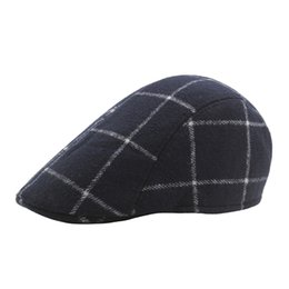 e8144b5b58b British Fashion Hats UK - Fashion Artist Flat Cap Vintage Wool Plaid Berets  Unisex French Hat