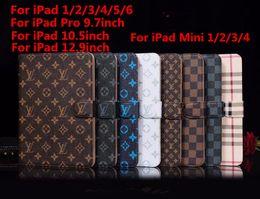 $enCountryForm.capitalKeyWord Australia - Fashion Grid Leather Flip Case For New iPad Pro 9.7 10.5 12.9 inch Flip Cover for iPad Air 6 5 Luxury Wallet Credit Card Holder for iPad min
