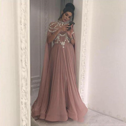 nude model women NZ - Elegant Dusty Pink Evening Dresses Long Sleeves Middle East Arabic Women Formal Prom Dress Vestido High Neck Beading Prom Party Gowns