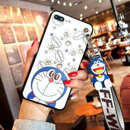 iphone toy case UK - Doraemon case, Cute Japan Cartoon Soft case For iPhone XS Max X 8 8plus 7 7plus 6 6S 6P cover + toy stander+ Strap
