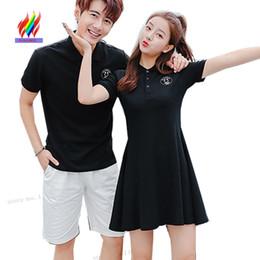$enCountryForm.capitalKeyWord NZ - Matching Couple Clothes Lovers T Shirt Dresses Women Men Design Summer Short Sleeve Cute Sweet Girls A Line Little Black Dress J190507