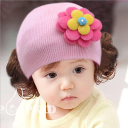 New baby hair online shopping - 1 Piece Winter Hot Sale New Hat Fashion Cute Wig Flower Hair Children Baby Kids Cap Floral Warm Knitted
