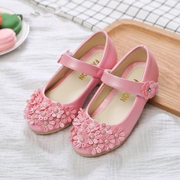 flower shoes kids NZ - 2020NEW children leather shoes Girls flowers Princess Shoes For Dance Wedding Party Kids For Spring Autumn pink blue