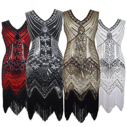 Women Party Prom Dresses Robe Femme 1920s Great Gatsby Flapper Sequin  Fringe Midi Dress Vestido Summer Art Deco Retro Black Evening Gowns dbd6b4738575