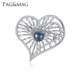indian gift boxes NZ - PAG&MAG Brand 925 silver Jewelry Heart Shape Inlay Black Pearl Brooch Pin For Elegant Women Anniversary Accessories With Gift Box