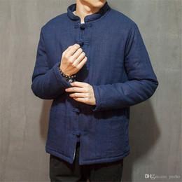 Chinese Kung Fu Jackets Canada - Traditional Chinese Tang jacket Winter Cotton linen Chinese Cloth Tang Clothing Coat Wing chun Kung fu shirt thick cotton-jacket M3-689