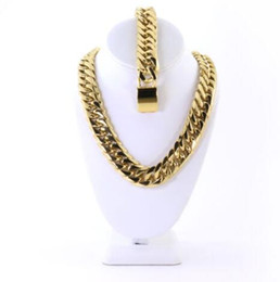 mens necklaces bracelets sets UK - Mens Large Thick 14K Gold Plated Miami Cuban Chain And Bracelet Set 21mm JayZ