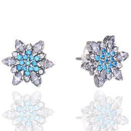 pandora snowflake NZ - New crystal blue snowflake earrings for Pandora 925 sterling silver with CZ diamond classic elegant ladies jewelry with original box