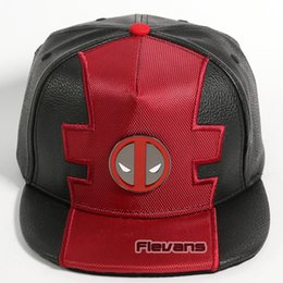 Discount unisex leather baseball cap - Marvel Deadpool Snapback Caps Cool Fashion Hip Hop Hat Adult Faux Leather Baseball Cap For Men