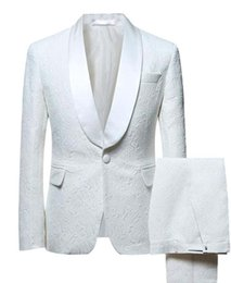 $enCountryForm.capitalKeyWord Australia - 2019 Ivory Men's Suit 2 pieces Fashion Blazer Shawl Lapel printed Patterned Suit Tuxedos Groomsmen For Wedding(Blazer+Pants)