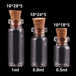 craft bottles corks wholesale Australia - 0.5ml 0.8ml 1ml Mini Glass Bottles with Cork Stopper Empty Spice Bottles Jars Gift Crafts Vials 300pcs