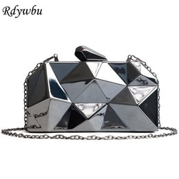 Bling Leather Purses Australia - Rdywbu Hot Sale Super Luxury Popular Geometric Metal Clutches Purse Bling Bag Gold Silver Black Party Chain Shoulder Bag SJ147 #675185