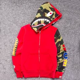 b0510a0c2d60 Shark Hoodies Men Embroidery Shark Male Couples Hooded Jackets Camouflage  Patchwork Loose Outdoor Sports Coats OOA6596