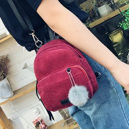 $enCountryForm.capitalKeyWord Australia - Mini Fur Ball Backpack Ladies Leather Backpacks Small Cute Backpack Corduroy Travel Shoulder Bag zaino donna rucksack women