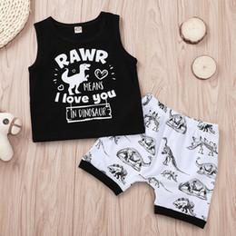 $enCountryForm.capitalKeyWord Australia - Baby Boys Dinosaur Tank Top+Pants Outfits Summer 2019 Kids Boutique Clothing Toddlers Little Boys Cotton Sleeveless 2 PC Set