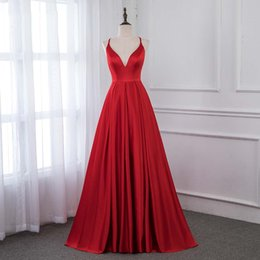 $enCountryForm.capitalKeyWord Australia - 2019 Red Satin Long Prom Dresses Formal Evening Gown Women Dress Back Cross Graduation Dresses Real Pictures Prom Party Gowns