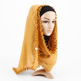Chinese  Fashion Women Cotton Linen Scarf Pompom Muslim Hijab Islamic Dubai Arabic Morocco Ramadan Shawls Headwear VKHJ1015 manufacturers