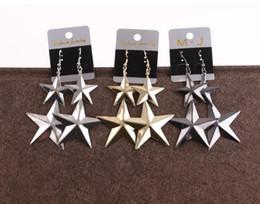 $enCountryForm.capitalKeyWord Australia - 2019 Hot sale alloy Five pointed star Tassels Dangle Chandelier Earrings black gold silver Exaggerated Pendant Earrings