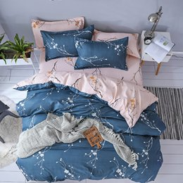Pink Black Girls Bedding Australia - Pink Plum Blossom Print Duvet Cover Set fashion luxury Bedding Set twin Queen King Size Girls Bed Linens Coverlet Bed Sheets