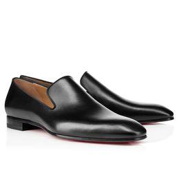 Mens Wedding Dress Shoes UK - Brand Red Bottom Loafers Party Wedding Shoe Designer BLACK PATENT LEATHER Suede Dress Shoes For Mens Slip On Flats
