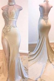 beaded mermaid elegant prom dress UK - Sexy V Neck Satin Split Mermaid Prom Dresses 2020 Lace Applique Beaded Ruched Backless Long Elegant Formal Party Evening Gowns Bc3977