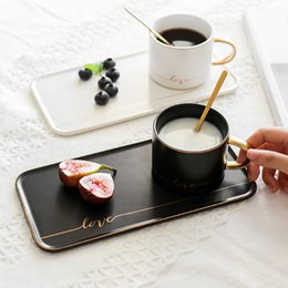 paintings coffee Australia - European Creative coffee cup and saucer set Simple gold painted ceramic mug breakfast milk cup afternoon tea cup with snack tray
