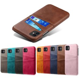 hard case wallet for iphone NZ - Leather Hard PC Wallet Two Card Slots Back Case For iPhone 11 Pro Max XR XS X 8 7 6 Samsung S9 Plus S10 S10E Note 9 10 10+ J4 J6 J8 J2 Core
