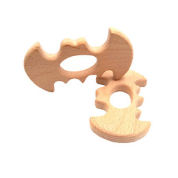 teether rings Australia - 10PCS Beech Wooden Batman Teether Unfinished Wood Animal Food Grade Baby Wood Ring Teether DIY Nursing Necklace Charms Pendant
