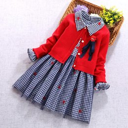$enCountryForm.capitalKeyWord NZ - 2019 Newest Kids Girls Clothes Set Red Cardigan Sweaters Coat And Long Sleeve Flower Plaid Dresses Spring Autumn 2pcs Set Girl Clothing 5t