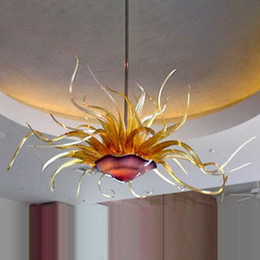 LED Cam Çiçek Avize Aydınlatma 40 Tarafından 20 Inç Lamba Otel Yemek Odası El Yapımı Üfşikmiş Sanat Tavan Lambaları İtalya Kolye Işıkları