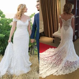 $enCountryForm.capitalKeyWord Australia - Ivory Full Lace Mermaid Country Wedding Dresses Sexy Off Shoulder V Neck Low Back Fitted Trumpet Rustic Bridal Gowns Court Train Plus Size
