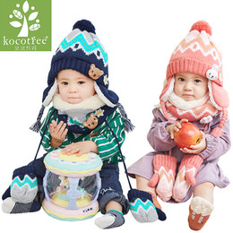 Kids Hat Gloves Scarves Australia - Cute Baby Hat Children's Hat & Scarf 2pcs lot Baby Girl Hat Winter Double Layer Knit Warm Caps Kids Hats And Gloves For Gift J190528
