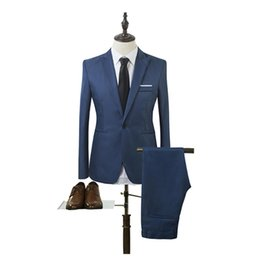 Suits Tails Australia - NEW Slim men 's suits wedding dresses without tail Wedding Prom 2 Piece Suits Casual business suit Single buckle