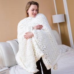 $enCountryForm.capitalKeyWord NZ - Drop Shipping Hand Knitting Merino Wool Yarn Chunky Knitted Blanket Soft Thick Roving Thread Spinning Bulky Knitting Blankets