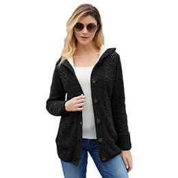 hooded wool winter coat womens UK - womens designerCardigan coat female Winter single-breasted woolen sweater with lining 27885