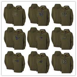 Wholesale Salute to Service Olive Men Hoodie Green Bay Chicago Packers Bears Minnesota Kansas City Viking Chiefs Pullover Houston Sweatshirt Texans
