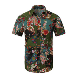 e5cee00c0341 Beach Hawaiian Shirt Tropical Summer Short Sleeve Shirt Men Button Down  Floral Print Shirts Fashion Slim Fit Holiday Vac